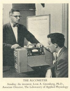 man with alcometer