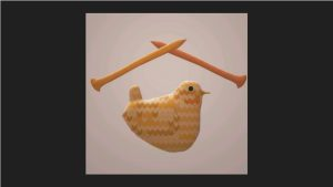This image shows the 3D bird from above with 3D knitting needles above it.