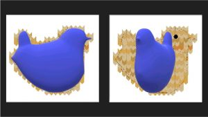 This image shows a rendering of a 3D bird and a rotated version of the same bird.