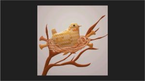 This image shows a 3D rendering of a digitally knitted bird in a 3D rendering of a nest made of knitting needles and yarn.