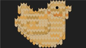 This image shows the knitted bird above with an outline of a bird drawn on top of it.