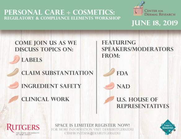 personal care and cosmetics workshop flier