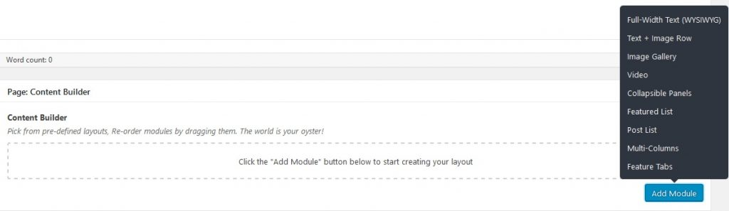 Add Module button for Flexible Content in context within an edit page.