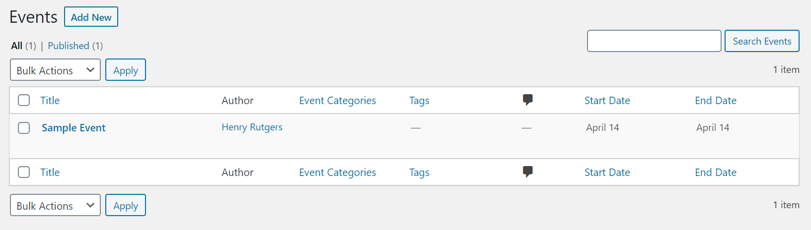 backend view of all events