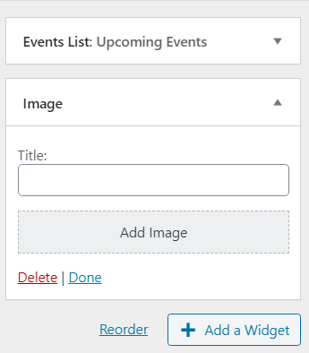 new widget expanded in customizer view