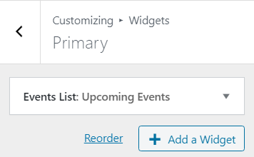 sidebar selected in customizer