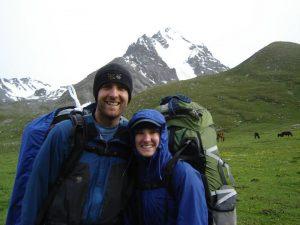 Adam & wife hiking in Kyrgyzstan