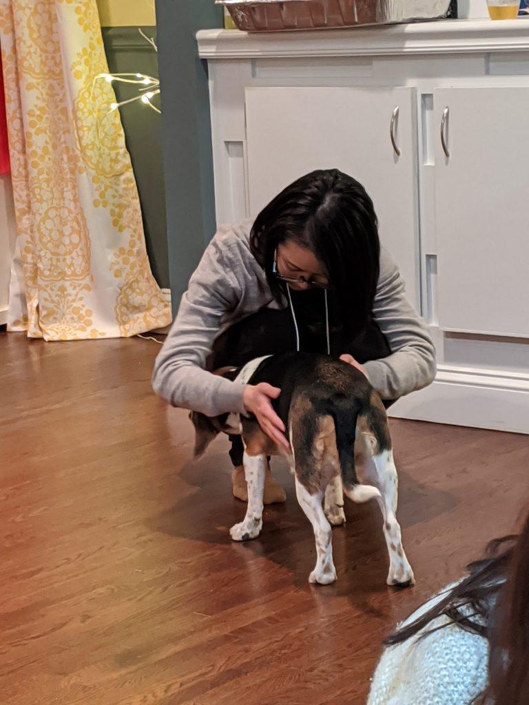 Shiori petting dog