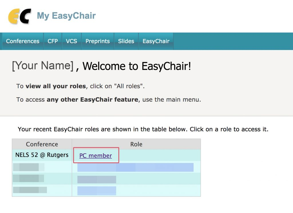"""A screenshot of the easychair page pointing out where to click on """"PC Member."""""""