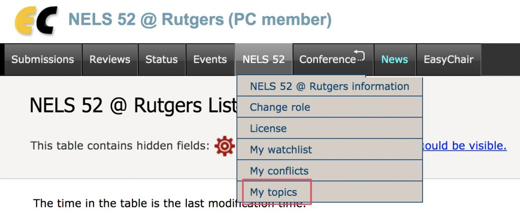 A screenshot of the easychair page pointing out where to click on the NELS 52 menu option, and then the My topics link.