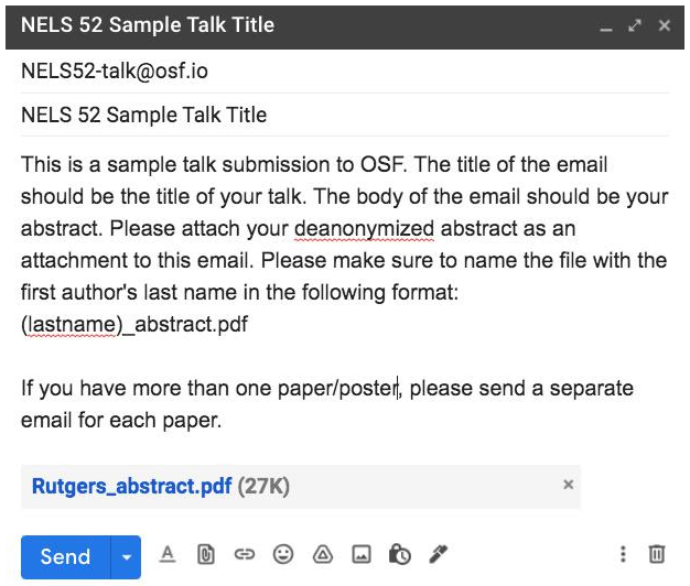 Sample e-mail for OSF