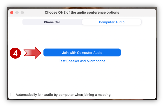 Zoom; Join with computer audio