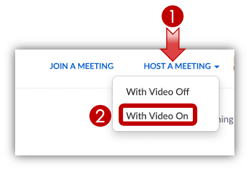 Zoom Website: Host A Meeting, With Video On