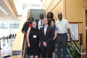 Mara Sanders, Jay Weeks, Anna Waller and Dr. Gebisa Ejeta. Back row: Cheryl Williams, Gabriel Abdulai, and Alecia Evans.