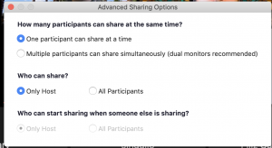 Advanced Sharing Options window in Zoom. This is where you can decide to allow all participants to share their screens.