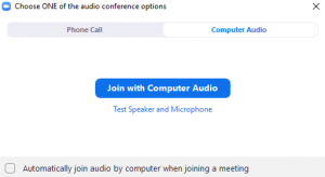 The audio prompt that appears whenever you enter a Zoom meeting. The button