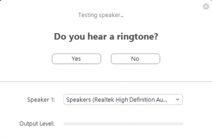 The test window for audio in Zoom. You can test your speaker or headset, as well as whatever microphone is connected.