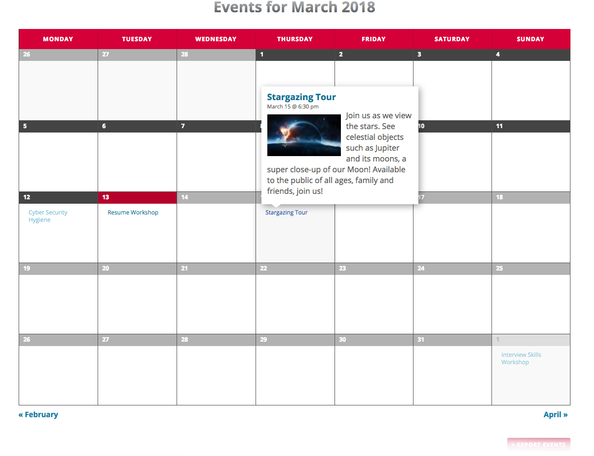 template events page sample